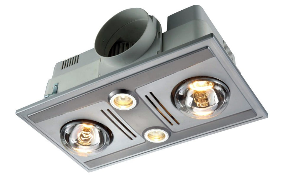 BL0014 GARRISON 2 - 2 Light 3 in 1 Bathroom Heat Exhaust 2 x 375w /2 x 12V MR16 50w Halogen Centre Lights - White / Silver