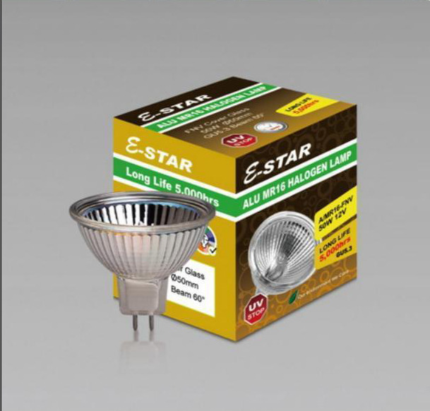 AC0028 Alu MR16 50W Halogen Lamp with Close Front Glass 36 degree or 60 degree (set of 6 items)