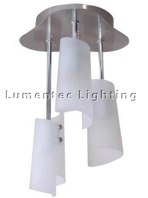 DMS0005 Three Light Rod Pendant in Satin Chrome with Frosted Curve Glass Domus