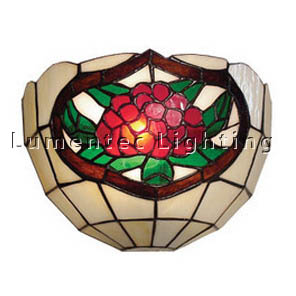 DMS0009 Wall Sconce with Red and Green Floral and Leaves Design Domus