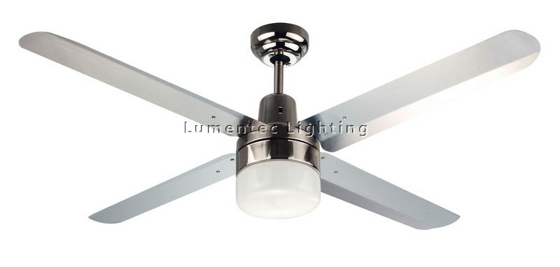 CF0059 Four Seasons Trisera Interchangable 3 or 4 Blade 1200 mm Ceiling Fan with Clipper Light in Brushed Nickel or White Martec