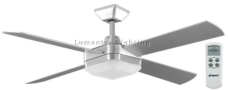 CF0039 Quadrant 1300 mm 4 blade Ceiling Fan in White or Brushed Aluminum with 2C Dimmable Fluorescent and remote control Kit Martec