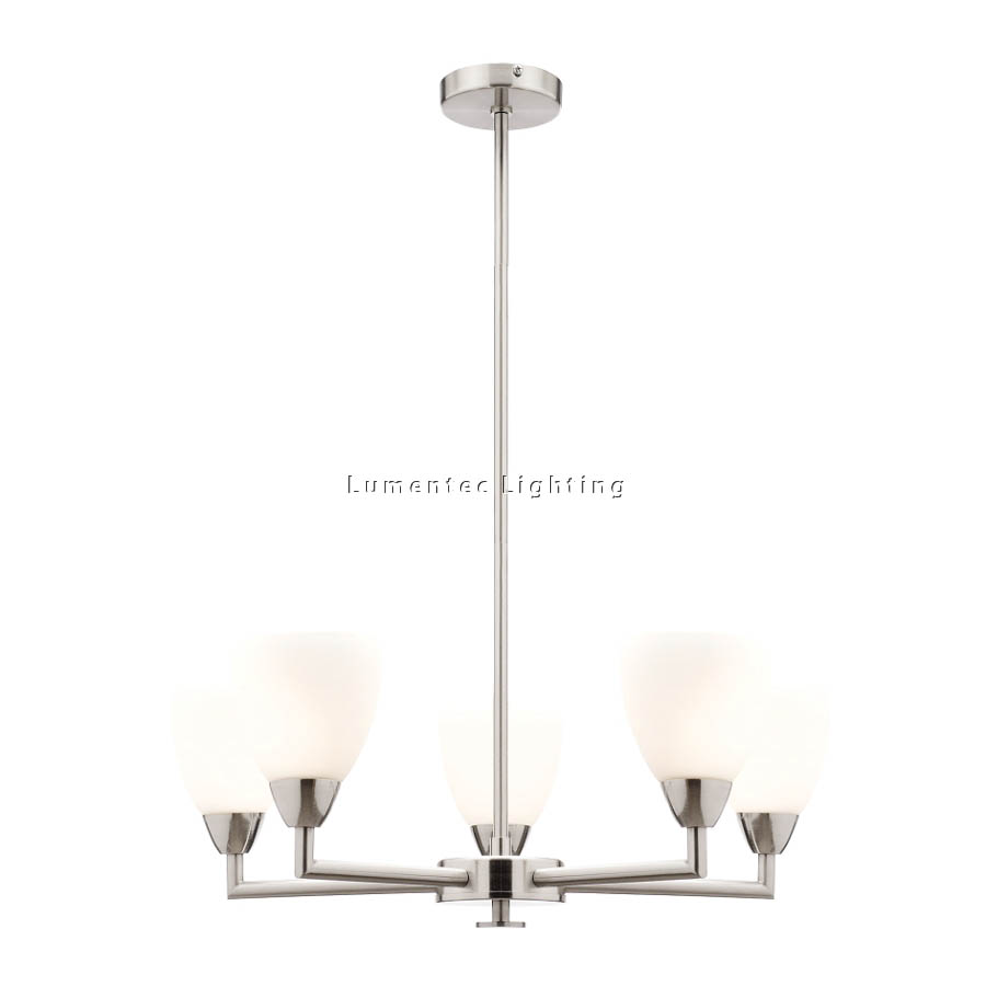 MER0460 Aries Five Light Rod Pendant in Brushed Chrome Mercator