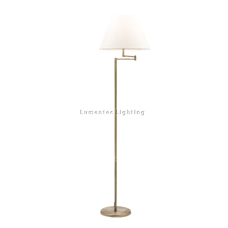 MER0476 Melville One Light Swing Arm Floor Lamp in Antique Brass Mercator