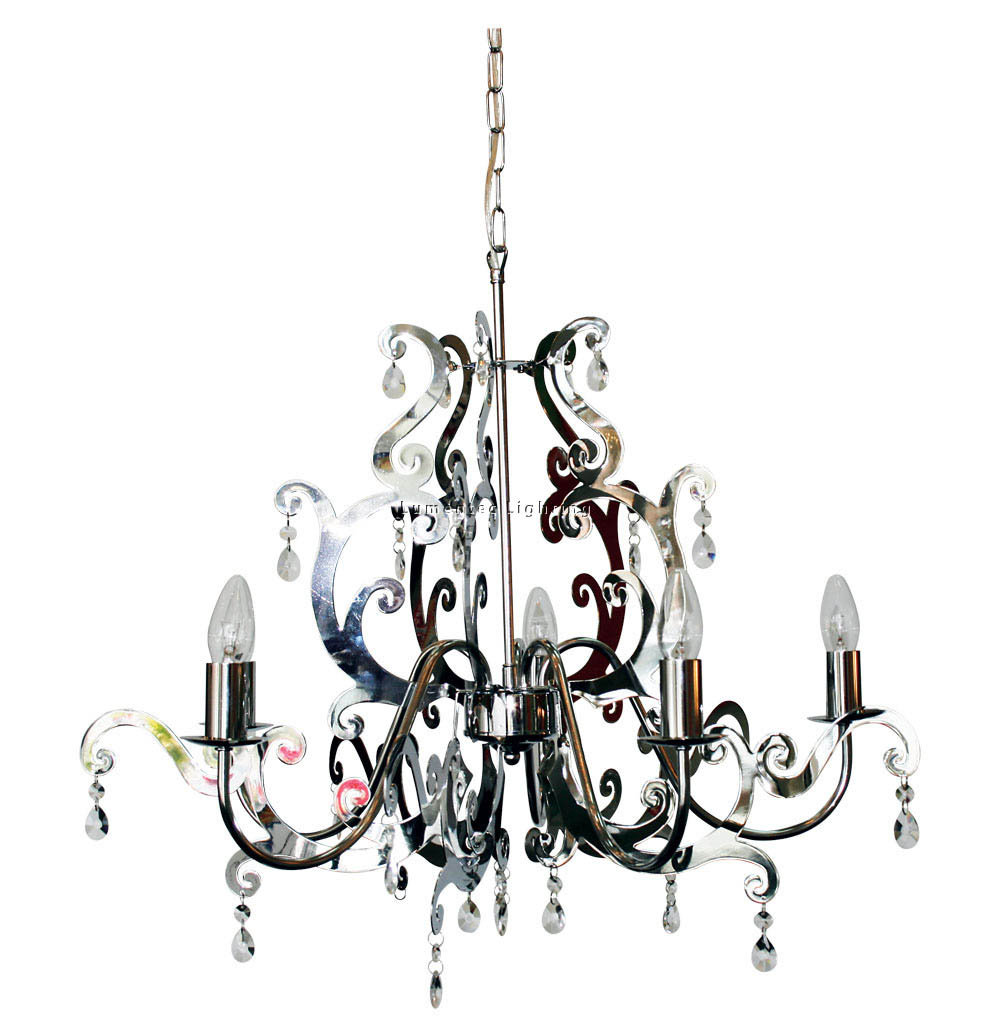 ORL0606 Carmen 5 Light Pendant in Chrome / Clear Oriel