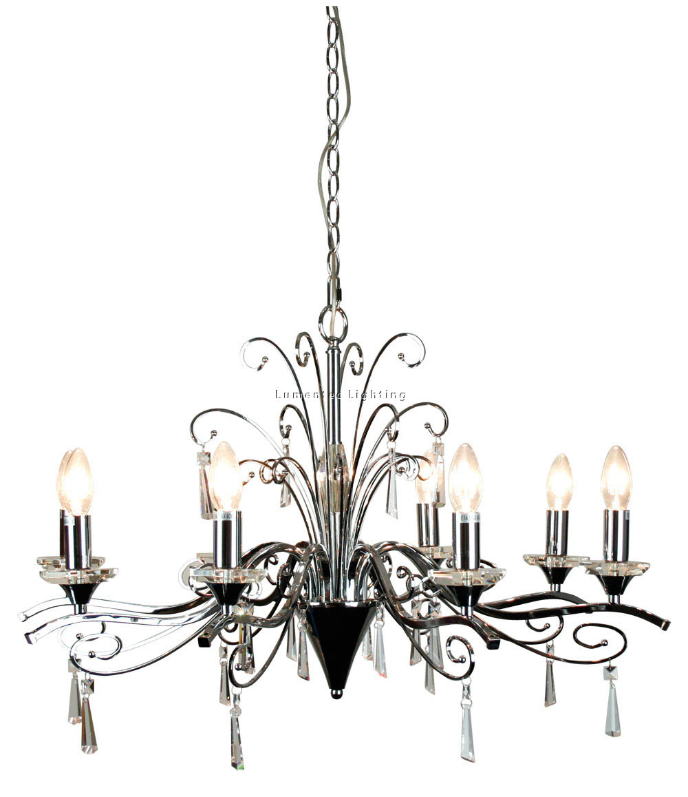ORL0112 Diaz 8 Light Pendant in Chrome and Crystal Oriel