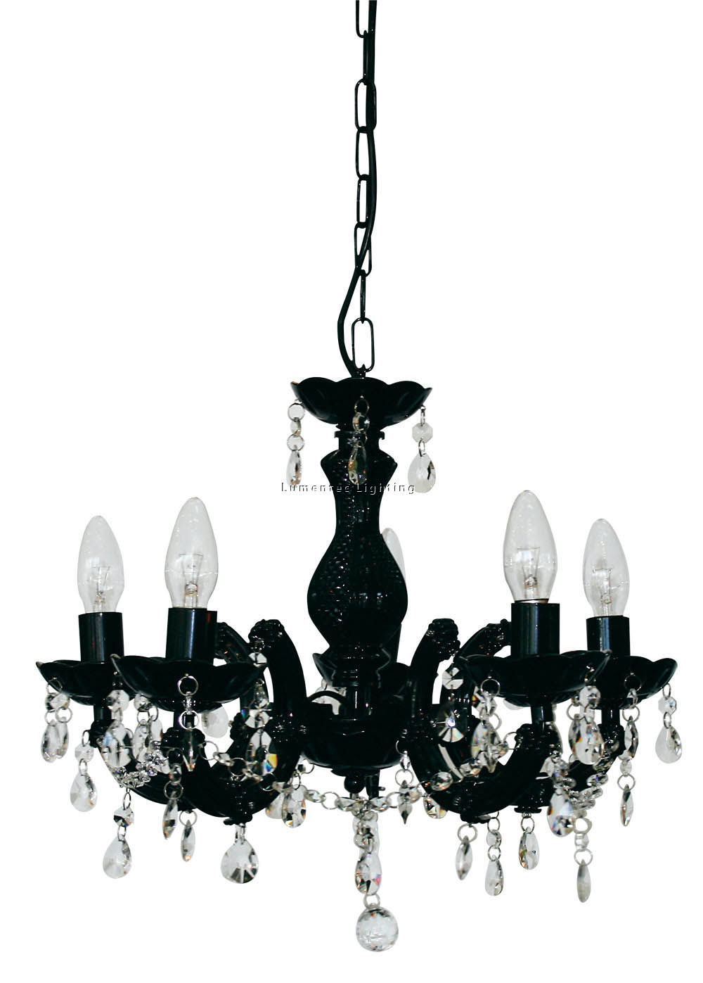 ORL0577 Marie Therese 5 Light Pendant in Black /Clear Oriel