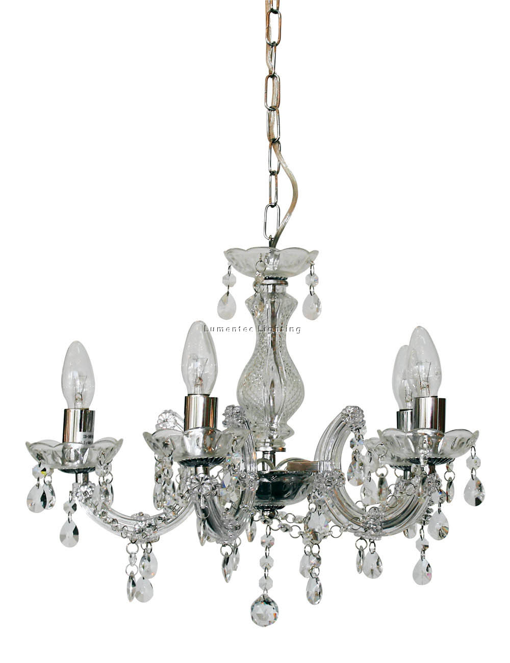 ORL0469 Marie Therese 5 Light Pendant in Chrome / Clear Oriel