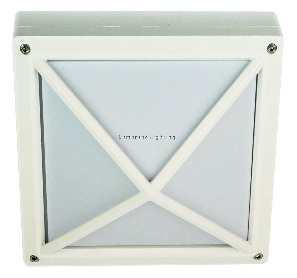 ORL0813 Quatro Exterior Bulkhead Light with Cross Tex in White Oriel