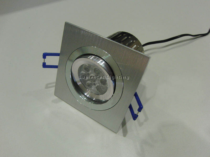 DL0064 Square Brushed Silver trim 80mm Cutout LED downlight kit designed to replace 50w halogen