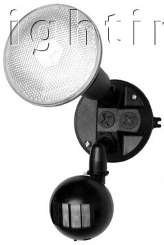 SE0002 Single Exterior PVC Spot Light w/Sensor without Energy Saving Globes