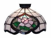 DMS0002 Flush Mount with Pink Floral and Green Leaf Design Domus